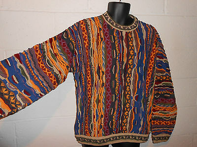 Vintage Colorful Textured Patterned Biggie Coogi Australia Vaporwave Sweater XL