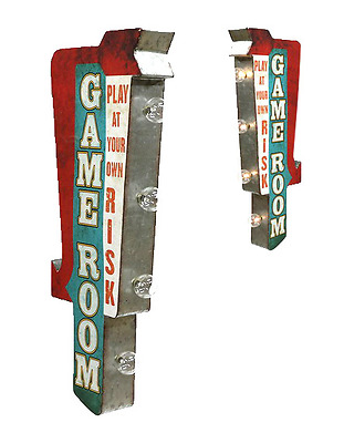 Game Room Double Sided Off the Wall Marquee Metal Sign With LED Lights