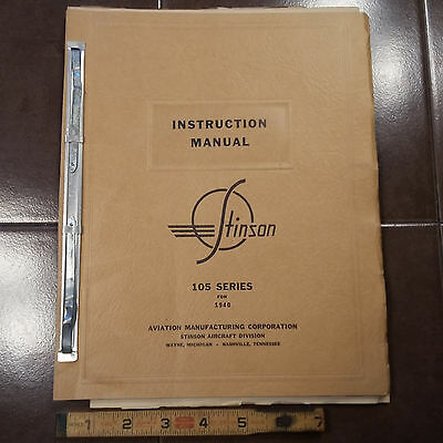 Original 1940 Stinson Model 105  Instruction Manual