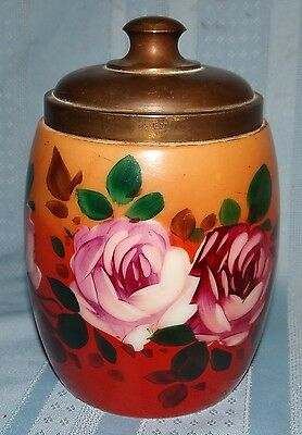 Vtg Antique Hand Painted Porcelain Tobacco Humidor Cracker Biscuit Jar Pink Rose
