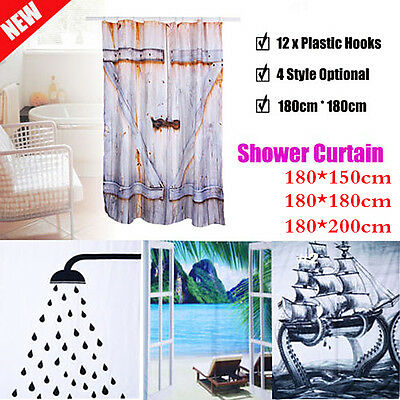 Waterproof Bathroom Shower Curtain with 12 Rings Hooks Polyester 4 Style Home UK