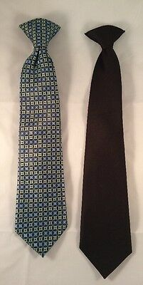 Lot of Boys Clip on Ties 2 Total - Solid Black and Blue Square Design