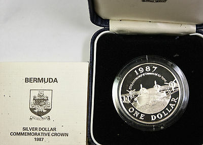 1987 Bermuda Crown Silver Gem Proof Comm Coin in a Blue Plastic Display Box