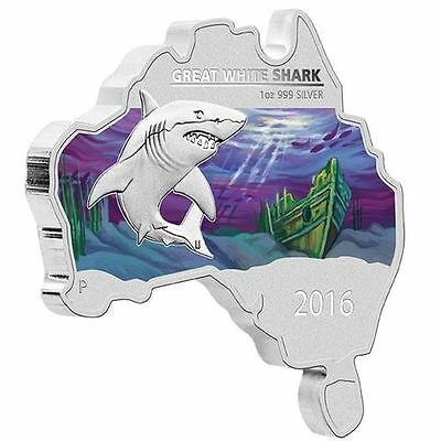 2016 Australia Map Shaped Coin Great White Shark 1 oz Silver proof  - Perth Mint