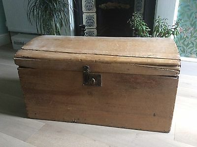 Antique Victorian Pine Dome top Trunk Box Chest