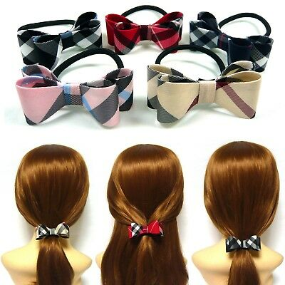 Lots 10~30PCS Check Plaid Double Bow Hair Tie Band Ponytail Holder Wholesale New
