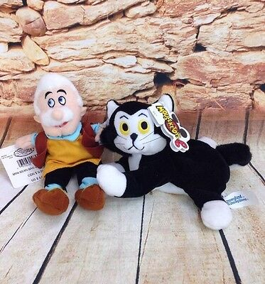 """Rare The Disney Store Geppetto And Figaro From Pinnochio Bean Bag 8"""" Plush NWT"""