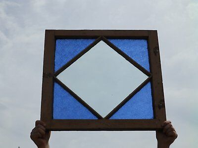 Antique Stained Glass Casement Window Shabby Cottage Chic Diamond 23x24 168-17P