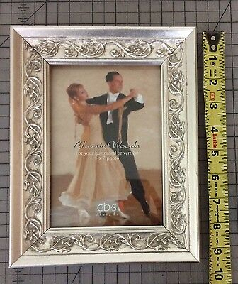 """CBS DESIGNS New Silver Carved Wood Picture Frame Fits 5x7"""" Photo"""