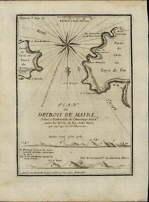 Terre de Feu Tierra del Fuego Argentina South America 1717 Frazier nautical map