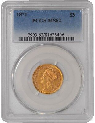1871 $3 Gold Indian MS62 PCGS