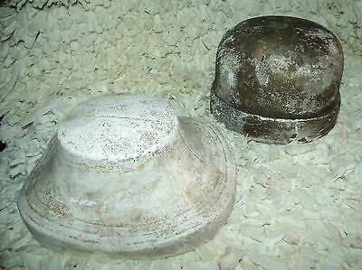 2 Early 1900's Cast Plaster Hat Form Factory Mold Ladies CLOCHE & BOATER HATS #4