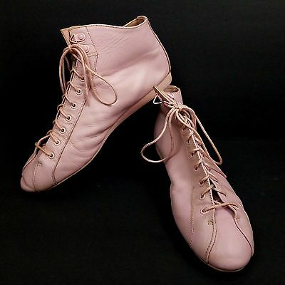 Endicott Johnson Vtg 80s Shoes Ankle Boot Pink Lace Up Sneakers 10M Leather Mod