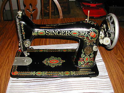 Singer Model 66 Red Eye Treadle Sewing Machine Beautiful Graphics -Excel. Cond.