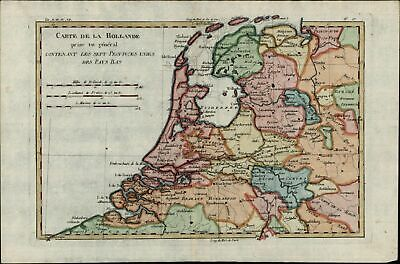 Holland Netherlands United Provinces c.1780 Nederland antique engraved color map