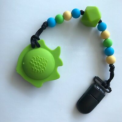BPA-Free Silicone Fish Teething Pacifier Clip Soother Teether Baby Shower