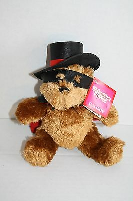 "Valentine TEDDY BEAR 8"" Bandit Black Top Hat Red Cape Plush Galerie Stuffed Toy"