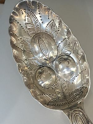 "Antique STERLING SILVER Berry Fruit SERVING Spoon 8 7/8""  English Rare Crest"