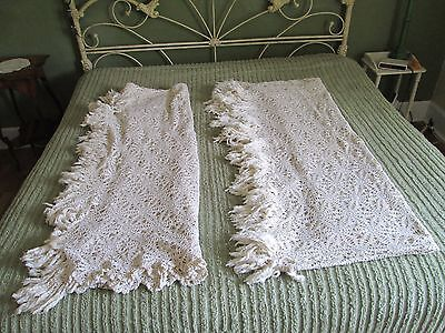 """Set of 2 Vintage Hand Crochet Matching Bedspread Coverlet Tablecloths 104"""" x 78"""""""
