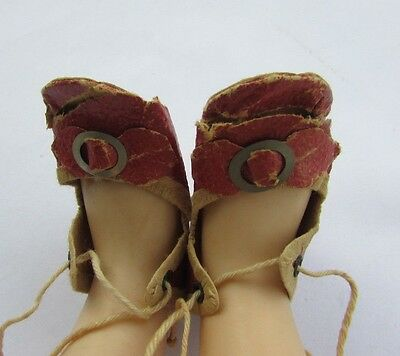 """Antique Oil Cloth Shoes Sandals Red Buckle Fits 15"""" Dolls Shirley Temple 1934"""