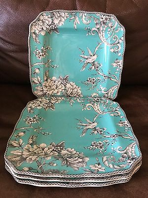 New 222 Fifth Adelaide Turquoise Set 4 Square Dinner Plates Toile Floral French