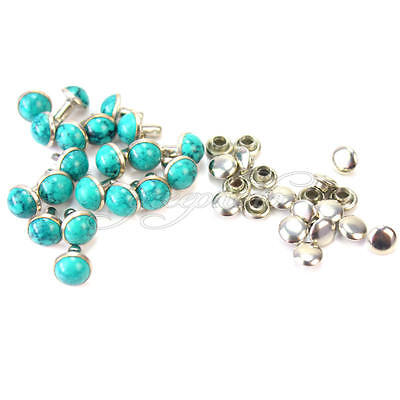20 Pairs Turquoise Stud Punk Rivets For Jeans Clothes Bags Decor DIY Craft 8mm