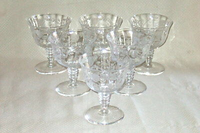 Lot of 6 Cataract Rock Sharpe 2010-4 Low Sherbets Cut Crystal Libbey Stemware