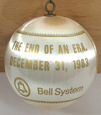 "RARE 1983 BELL SYSTEM Telephone End of Era 3"" Christmas Ornament Satin Man Poles"