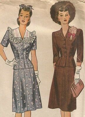 4736 Simplicity Sewing Pattern Two Piece Dress Size 20 Top Gored Skirt Vtg 1940s