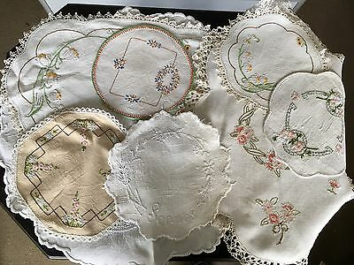 Vintage Lot 8 Doilies 5 Small 3 Large Hand Embroidered Lace Ect