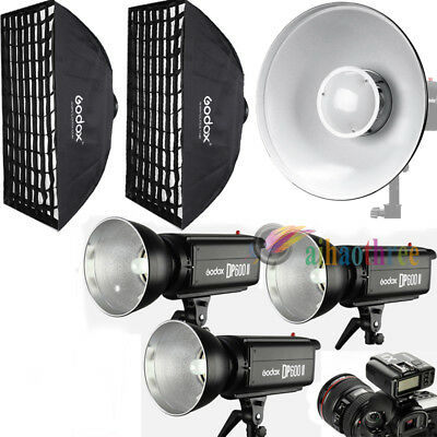 3Pcs Godox DP600II 600W 2.4G Wireless X System Flash Trigger Softbox Deauty Dish