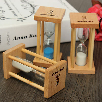 1/3/5Min Hourglass Timer Wood Frame Glass Sand Sandglass Clock Time Decor Gift