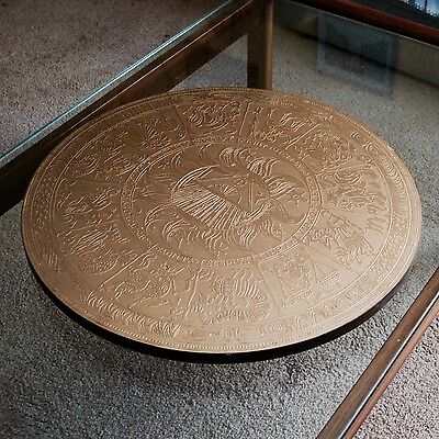 Lazy Susan with Copper Embossed Zodiac Top approx 550mm Diameter c.1970s