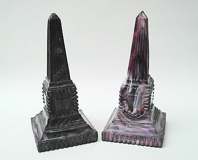 1880s Victorian Sowerby Purple Malachite Slag Glass Obelisks