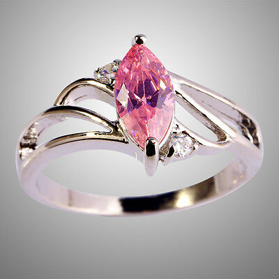 Marquise Cut Pink Topaz Gemstone Silver Ring Size 8 Free Shipping Noble Jewelry