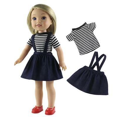 Striped T-shirt Shoulder Strap Skirt for 14inch American Girl Dolls Clothes