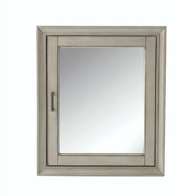 Bathroom Medicine Cabinet Mirror Glass Framed Surface Mount Antique Grey Shelves