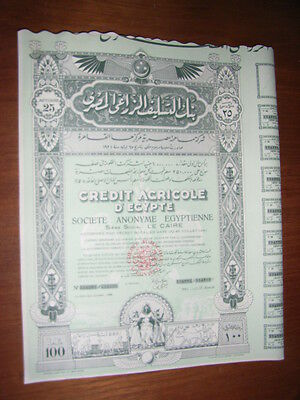 EGYPT: Credit Agricole d'Egypte,  shares, 1934, very decorative