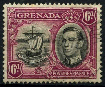 Grenada 1938-50 SG#159a, 6d Black & Purple KGVI P13.5xP12.5 Used #D52129
