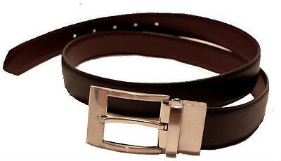 BULK 12 x NEW GENUINE LEATHER REVERSIBLE BELT BLACK/BROWN MENS BOYS FORMAL DRESS