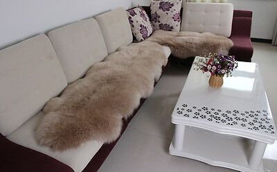 DOUBLE Genuine Australian Premium Soft Sheepskin Lambskin Rug Pelt Light Brown