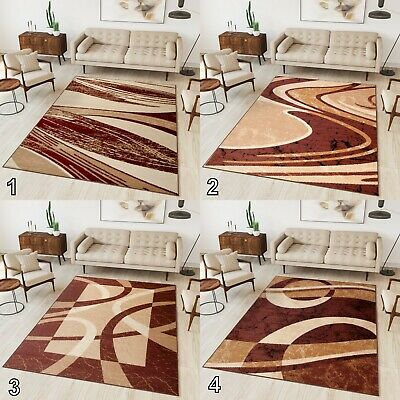 NEW BEAUTIFUL MODERN RUGS TOP DESIGN LIVING ROOM BROWN Different Sizes