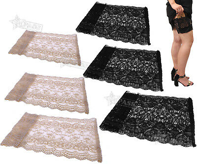 Elastic Non Slip Anti-Chafing Black Lace Sock Thigh Band Legs Warmers 2 Colors