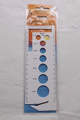 PONY Standard Knitting Gauge 11mm-25mm Metric and Imperial with cutter