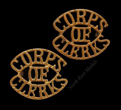 Matching Pair of Indian Corps of Clerks Shoulder Title Badges