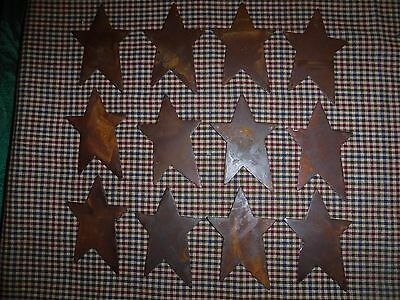 3 Inch Rusty flat metal star lot of 12 Crafts Primitive