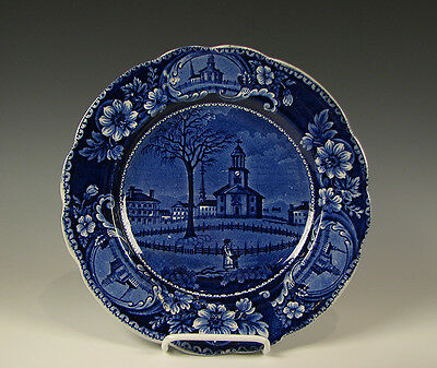 Dark Blue Staffordshire American Historical Plate Winter View of Pittsfield Mass