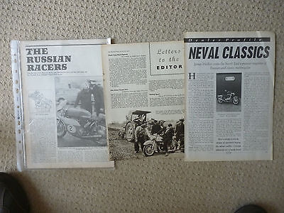Russian motorcycles Neval,Vostok etc. technical & historical articles- 4 items!