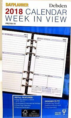 2018 Debden Personal Dayplanner REFILL Week to View PR2700-18 96x172mm NEW