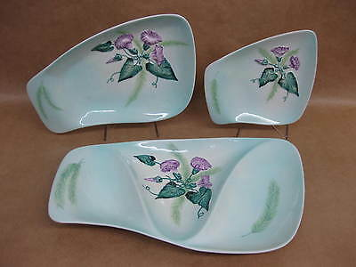 3 Carlton Ware Serving Dishes ~3 Section~Convolvulus /Morning Glory ~Pale Green